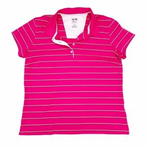 Adidas Golf Climalite Women's Short Sleeve Striped Polo Tee Hot Pink Size Large